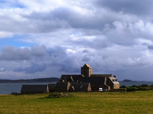 Iona Abbey with Fionnphort in distance