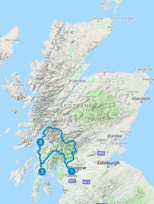 Map for 4 days in Scotland using the Argyll Coastal Trail itinerary