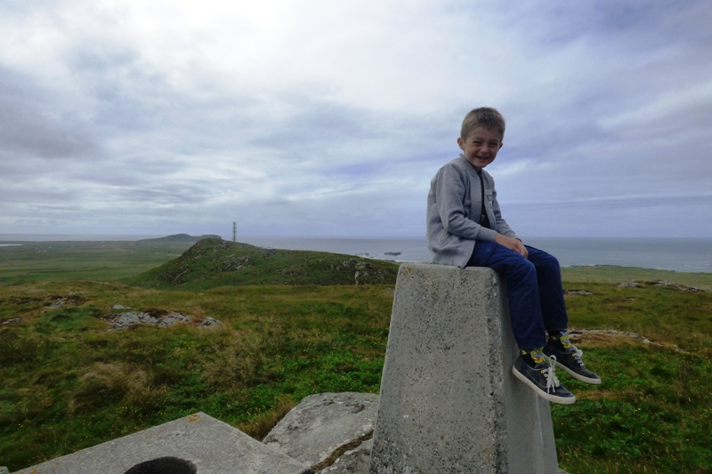 Trig point on Ben Hough on Tiree