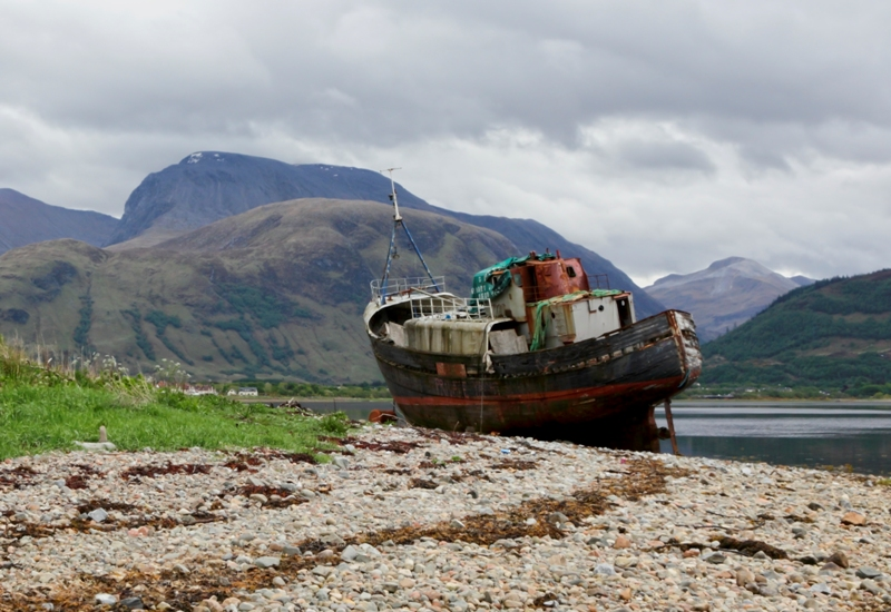 Old Boat at Corpach Beach with Ben Nevis in background