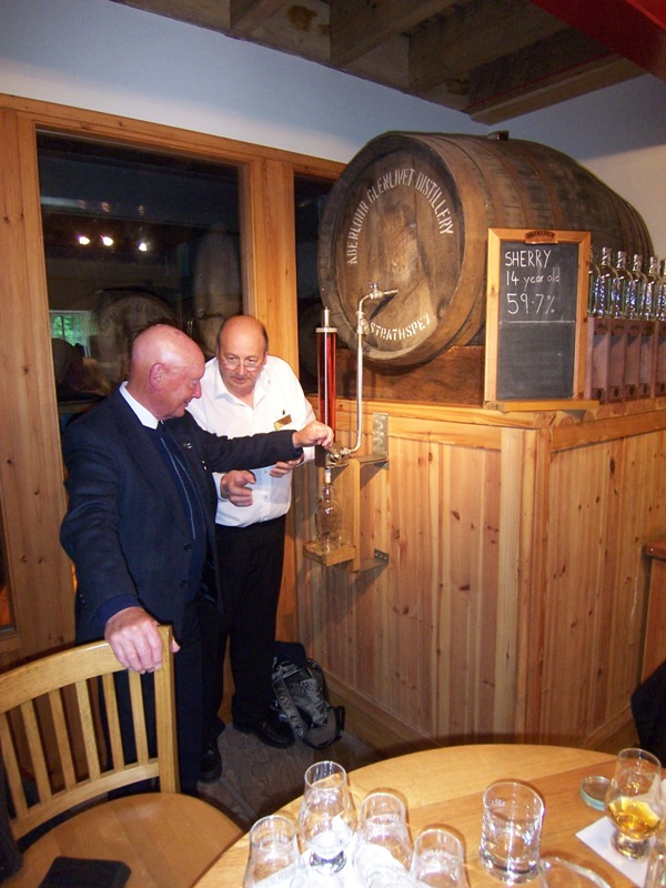 Filling a bottle direct from cask at Aberlour