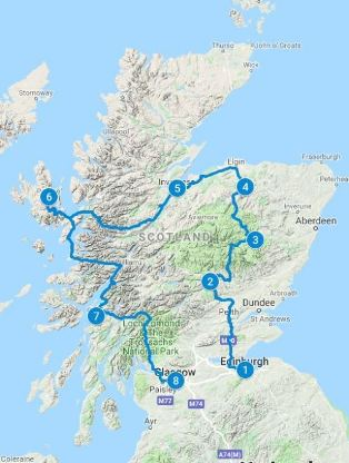 Map for 10 days in Scotland using Classic Whisky itinerary