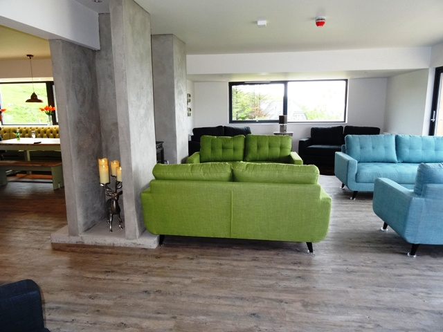 Stylish lounge in the Cowshed Bunkhouse on Skye