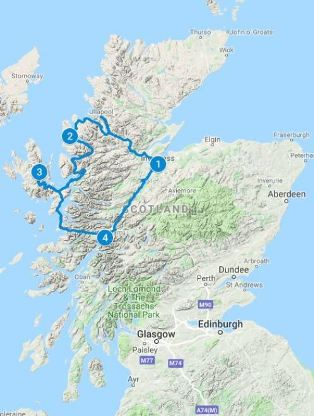 Map for 5 days in Scotland using Essential Highlands Itinerary