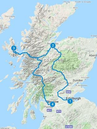 Route Map for 4 days in Scotland