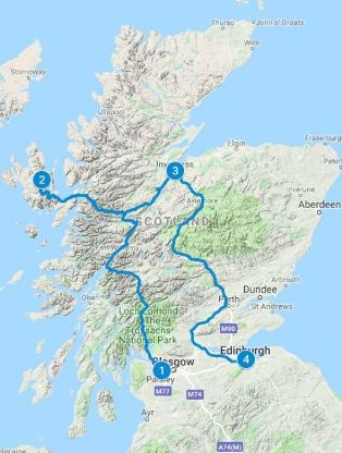 Map for 3 days in Scotland using Express Explorer Itinerary