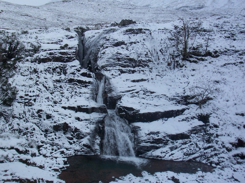 Allt Lairig Eilde Falls in Glencoe with snow