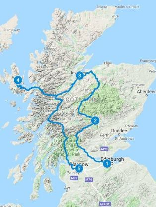 Road Map for 5 days in Scotland using Highland Explorer Itinerary