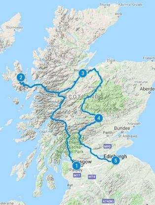 Map for 5 days in Scotland using Highland Explorer Itinerary from Glasgow