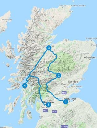 Map for 7 days in Scotland using Historic Scotland itinerary