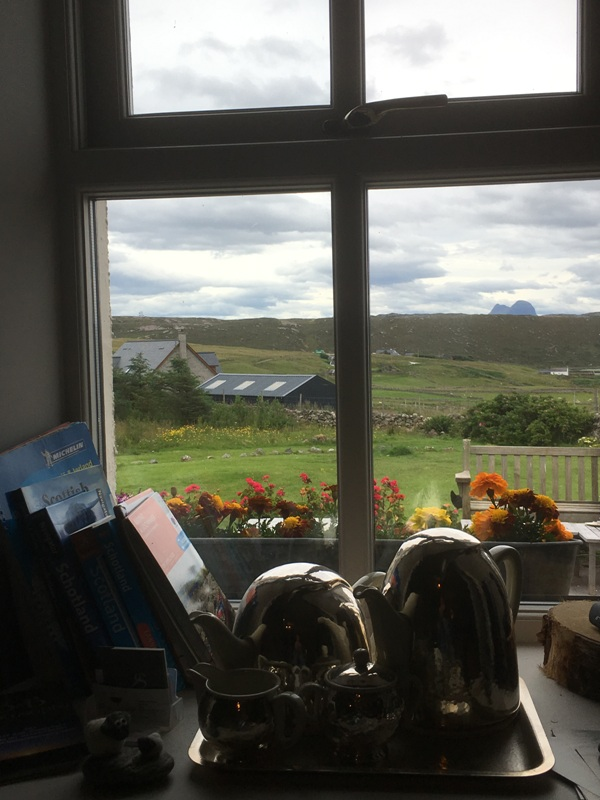 View of Suilven mountain from Choc-o-Latte cafe window