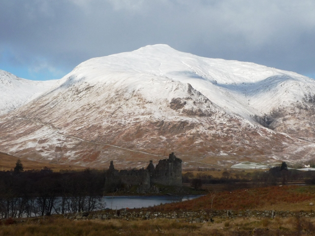 Loch Awe and Kilchurn Castle in winter