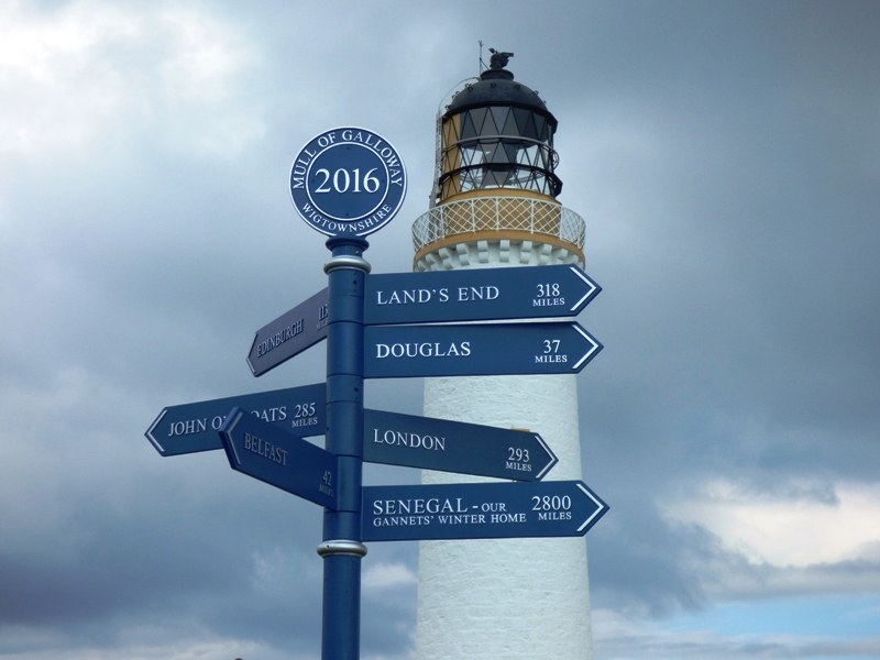 Mull of Galloway signpost to far away places