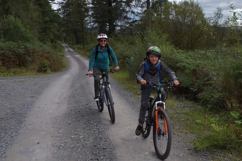 Biking on the Raiders Road in Galloway Forest