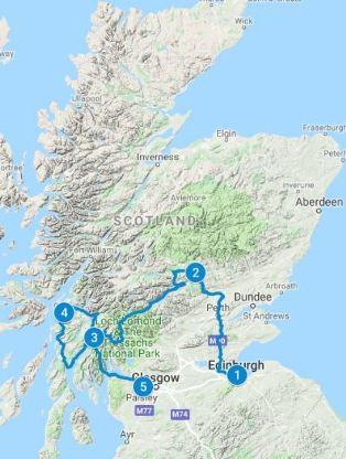 Map for 3 - 5 days Romantic Scotland Itinerary