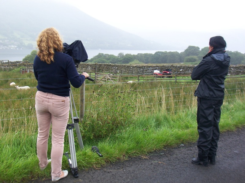 Swedish SVT TVcrew filming sheep in Scotland