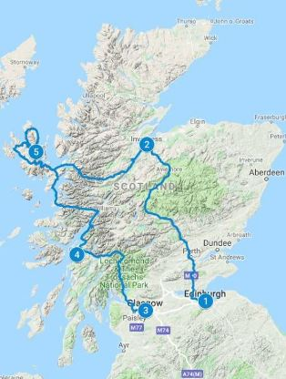 Map for 7 days in Scotland using Scenic Flexi Itinerary