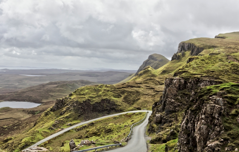 Single track road over Quiraing on Skye