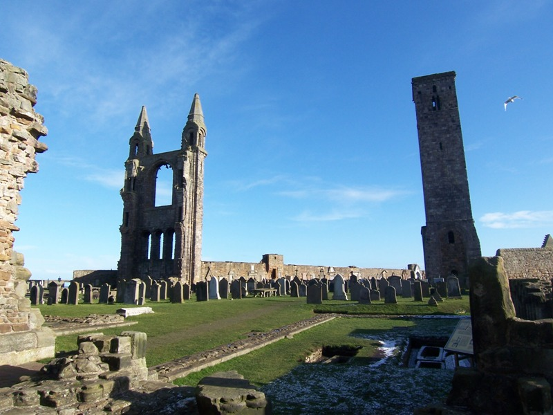 Ruins of St Andrews Cathedral on a bright winter day