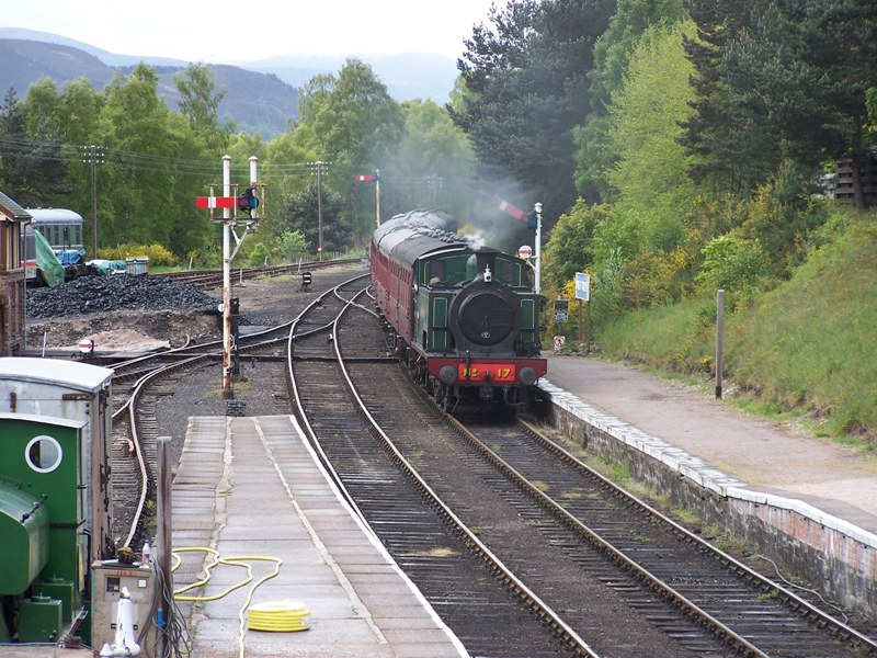 Strathspey steam train arriving at Boat of Garten