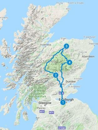 Map for 5 days in Scotland using the Whisky Taster itinerary