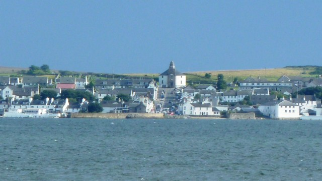 Looking across Loch Indaal to the round church of Bowmore